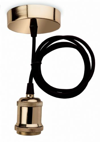 Firstlight 7681BR Brass with Black Fabric Cord Pendant Kit
